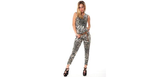 Dámsky šedý leopardí overal Bella Rosa