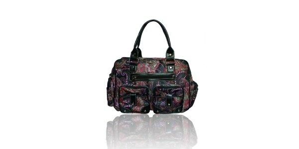 Dámska čierna kabelka s farebným potiskom London Fashion
