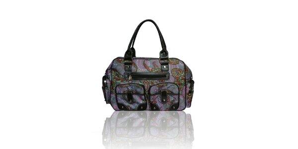 Dámska šedá kabelka s farebným potiskom London Fashion