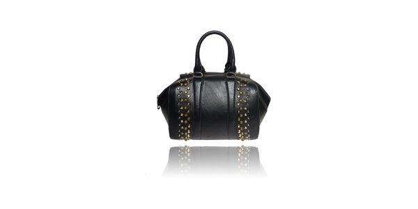 Dámska čierna kabelka s cvočkami London Fashion