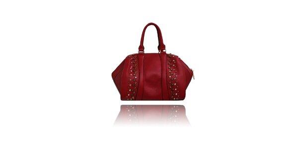 Dámska červená kabelka s cvočkami London Fashion