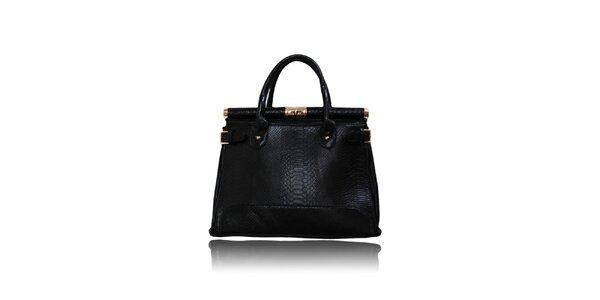 Dámska čierna kabelka so zámčekom London Fashion