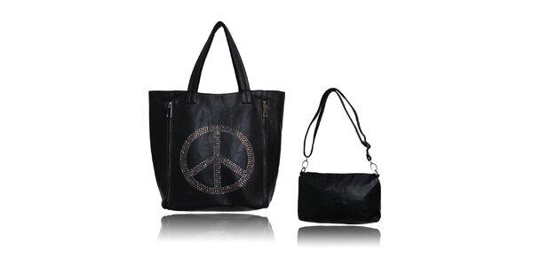 Dámska čierna kabelka s mierovým symbolom a malou taštičkou London Fashion