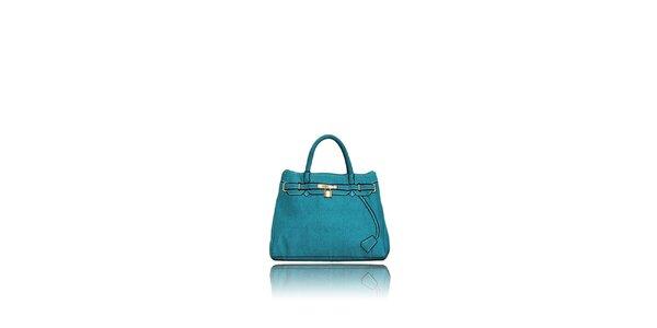 Dámska tyrkysová kabelka s potiskom zlatého zámčeku London Fashion