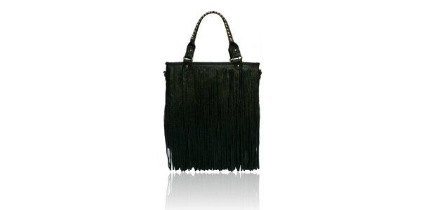 Dámska čierna kabelka so strapcami London Fashion
