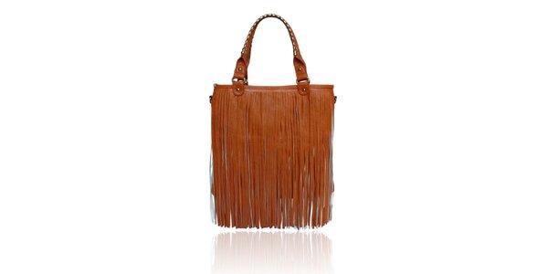 Dámska oranžová kabelka so strapcami London Fashion