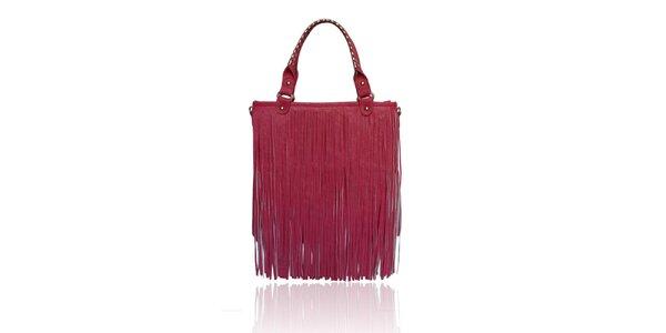 Dámska ružová kabelka so strapcami London Fashion