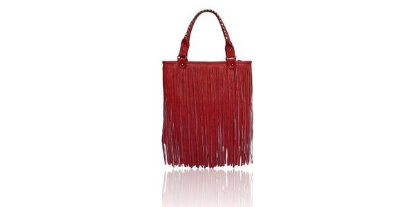 Dámska červená kabelka so strapcami London Fashion