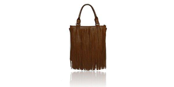 Dámska hnedá kabelka so strapcami London Fashion