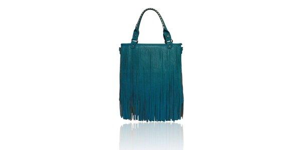 Dámska tyrkysová kabelka so strapcami London Fashion