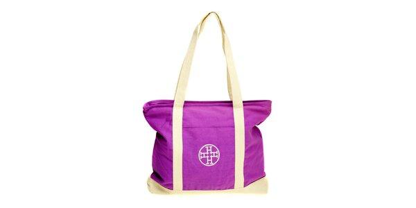Dámska fialovo-béžová látková kabelka Hope
