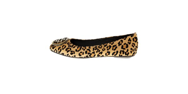 Dámske leopardie kožené baleríny so sponou Hope