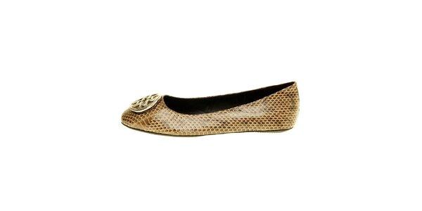 Dámske hnedé pásikové sandále s hadím vzorom Hope