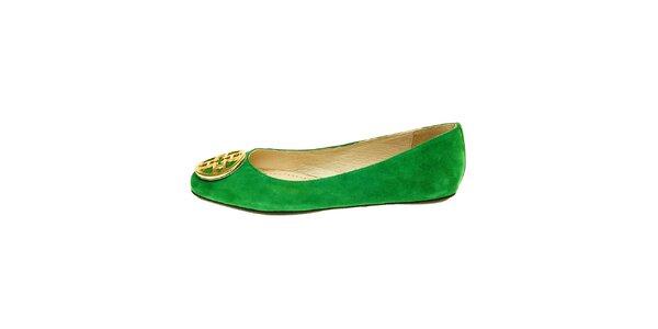 Dámske zelené semišové baleríny so zlatou sponou Hope