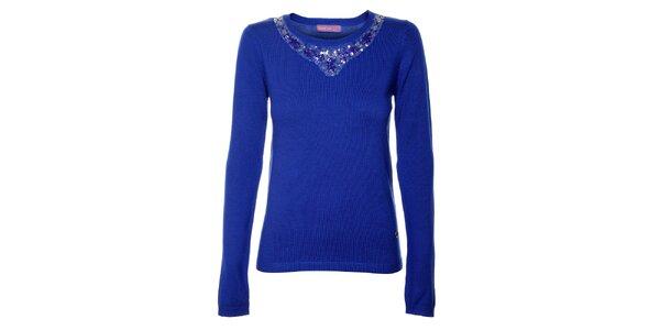 Dámsky kráľovsky modrý úpletový sveter s aplikáciami Hope
