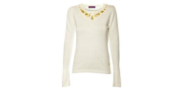 Dámsky biely úpletový sveter s aplikáciami Hope