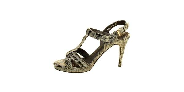 Dámske šedé pásikové sandále s hadím vzorom Hope