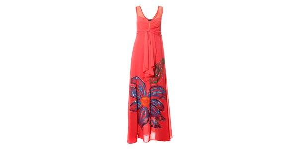 Dámske lososové dlhé šaty s výraznou kvetinou Via Belucci