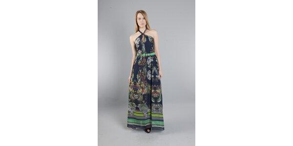 Dámske dlhé tmavo modré šaty Via Bellucci s kvetinovou potlačou