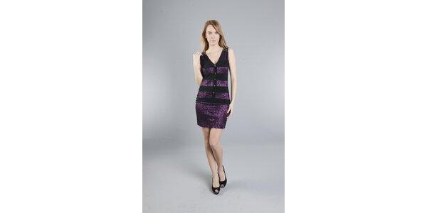 Dámske purpurové čipkované šaty Via Bellucci so zlatými cvokmi