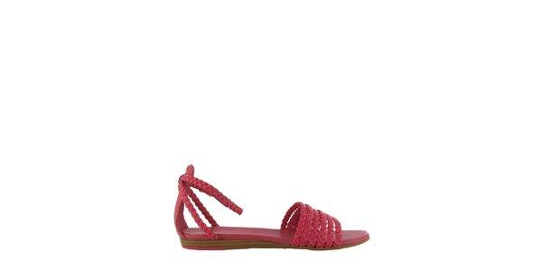 Dámske ružové sandále Flip Flop s prepletenými páskami