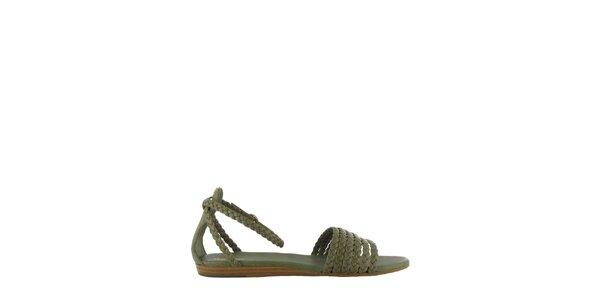 Dámske khaki sandále Flip Flop s prepletenými páskami