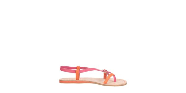 Dámske oranžovo-ružové páskové sandálky Flip Flop