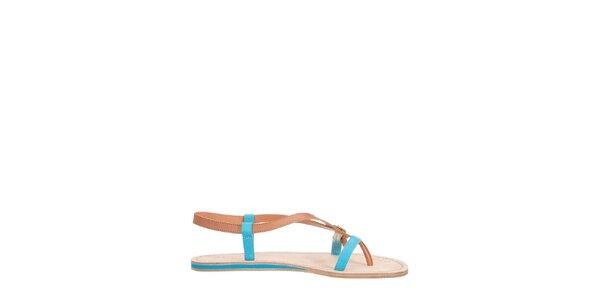 Dámske hnedo-tyrkysové páskové sandálky Flip Flop