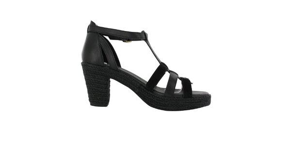 Dámske čierne sandálky na podpätku Flip Flop