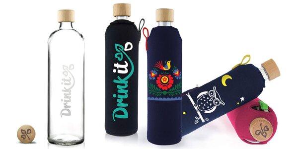 Sklenená fľaša v neoprénovom obale v dvoch veľkostiach