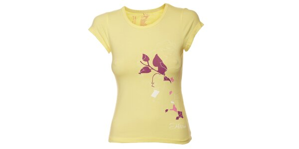 Dámske žlté tričko s fialovou potlačou Hannah