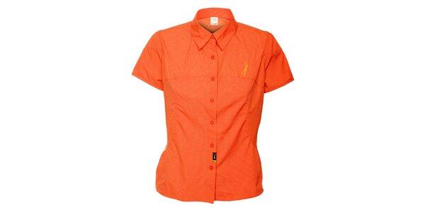 Dámska oranžová outdoorová košeľa s jemným vzorom Hannah