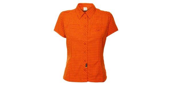 Dámska oranžová kockovaná outdoorová košeľa Hannah
