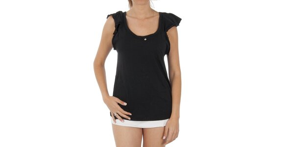 Dámske čierne tričko s volánkovými rukávkami Women'Secret