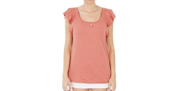Dámske lososové tričko s volánkovými rukávkami Women'Secret