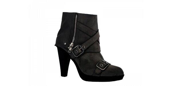 Dámske čierne topánky Red Hot so zipsom a pásikmi