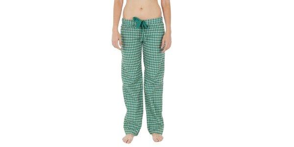 Dámske zeleno-biele pyžamové nohavice Women'Secret