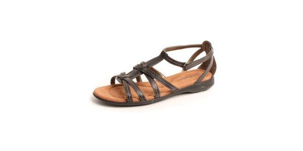 Dámske čierne kožené sandále Hush Puppies