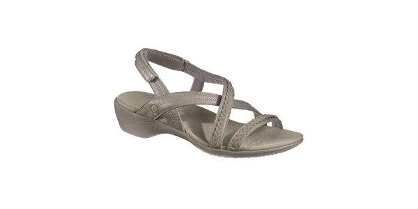 Dámske šedé kožené sandálky Hush Puppies
