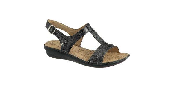 Dámske čierne kožené sandálky Hush Puppies