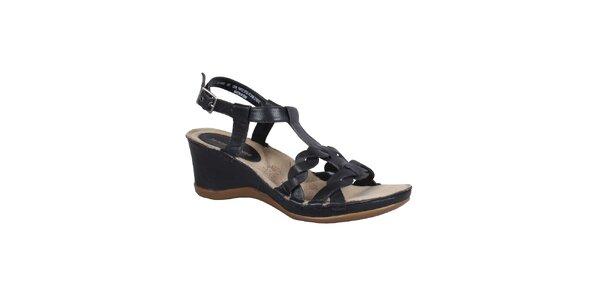 Dámske čierne kožené sandálky na podpätku Hush Puppies