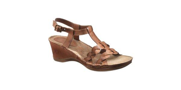 Dámske hnedé kožené sandálky na podpätku Hush Puppies