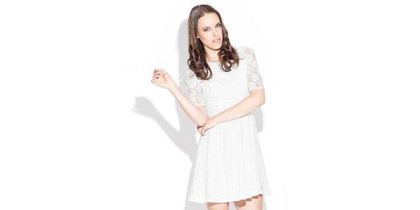 Dámske biele čipkované šaty Katrus