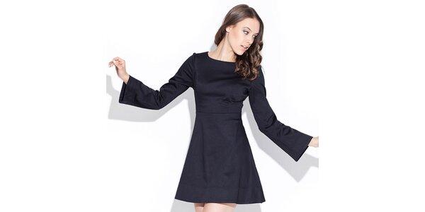 Dámske lesklé čierne šaty Katrus