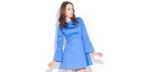Dámske lesklé modré šaty Katrus