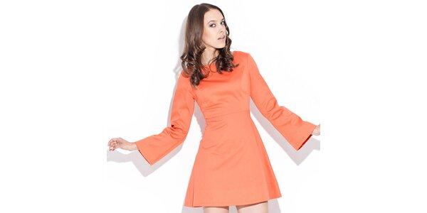 Dámske lesklé oranžové šaty Katrus