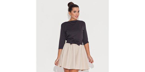 Dámske čiernobéžové šaty s mašľou v páse Katrus