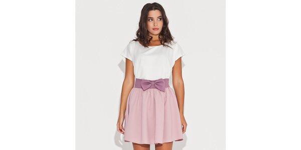 Dámske ružové šaty s mašľou v páse Katrus