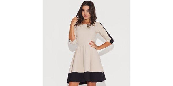 Dámske čiernobéžové šaty s kontrastným lemom Katrus