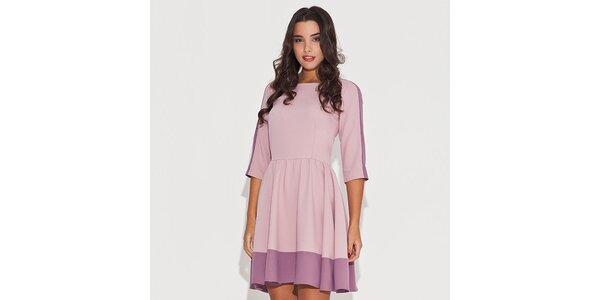 Dámske ružové šaty s kontrastným lemom Katrus